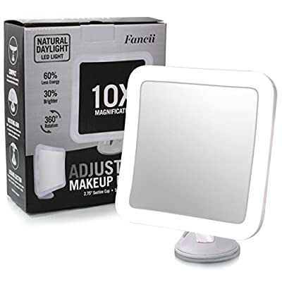 "Cheapest Fancii 10X Magnifying Lighted Makeup Mirror - Daylight LED Travel Vanity Mirror - Compact, Cordless, Locking Suction, 5.2"" Wide, 360 Rotation, Portable Illuminated Bathroom Mirror (Square) from Fancii - Free Shipping Available"