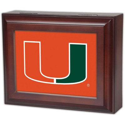 Collegiate Digital Music Jewelry Box Finish: Wood Grain, Ncaa Team: University Of Miami - U Logo