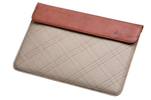 Settonbrothers Ultra Slim ipad air 2 Sleeve case - (ipad 6) Made with Brown Genuine Leather & Beige Plaid Cotton Fabric -Protective Cover Carrying Bag