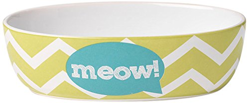 "Pet Rageous 2 Cup Zigazaga Oval Meow! Bowl, 6.5"", Lime Green"
