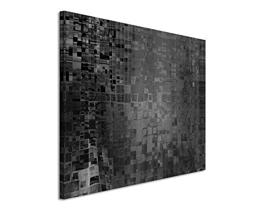 50x70cm Leinwandbild schwarz weiß in Topqualität Abstrakt Grafik Geometrisch Punkte Pixel