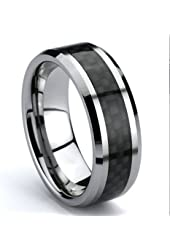 Men's & Women's Tungsten Carbide Wedding Band Ring with Black Carbon Fiber Inlay (Available Sizes 7-15.5) in 8mm