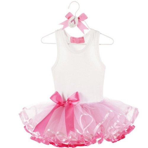 Mud Pie Baby Tiny Dancer White Cotton Tutu Dress with Ribbon, Pink, 0 - 6 Months