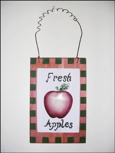 Hand Painted Fresh Apples Wood and Tin Wall Plaque