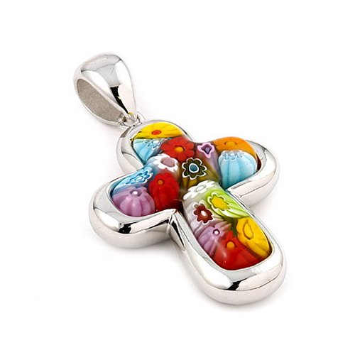 Murano Glass Millefiori Multi Color Cross Pendant