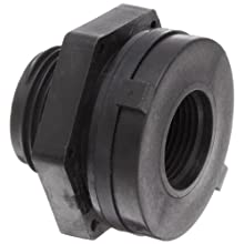 "Dixon 60401 Polypropylene Pipe and Welding Fitting, Bulkhead, 3/4"" NPT Female, 1-3/8"" Hole Size"