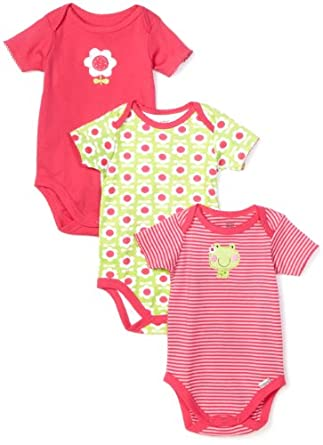 Lamaze Baby-Girls Newborn 3 Pack Flower Frog Bodysuits, Pink/Green, Newborn