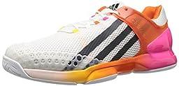 adidas Performance Men\'s Adizero Ubersonic Tennis Shoe, White/Dark Grey/Shock Pink, 9.5 M US