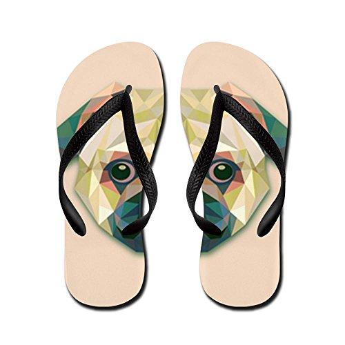 Royal Lion Kid'S Triangle Pug Dog Black Rubber Flip Flops Sandals 11.5-13