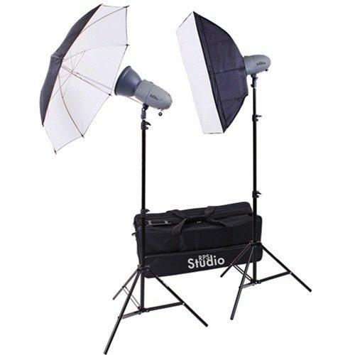 Rps Studio Rs-Sr300Dk 600 Watt / Second Portable 2 Monolite Lighting Kit With 2 Strobes & Reflectors, 1 Softbox, 1 Umbrella, 2 Stands, Infrared Trigger & Case