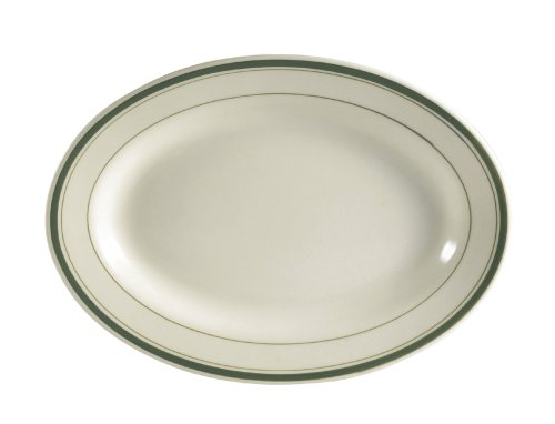 CAC China GS-34 9-3/8-Inch by 6-1/4-Inch Greenbrier Green Band Stoneware Oval Platter, American White, Box of 24
