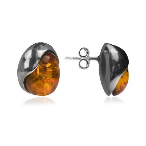 Sterling Silver Honey Amber Stud Earrings