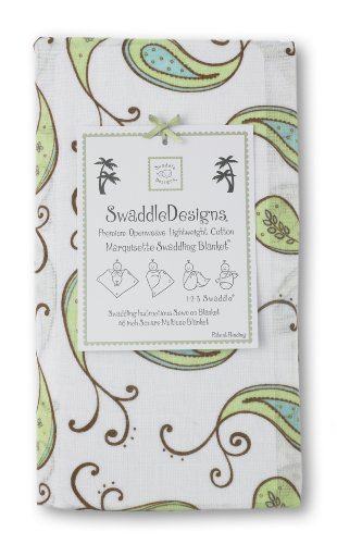 Buy SwaddleDesigns Marquisette Swaddling Blanket, Triplets Paisley, Kiwi Reviews