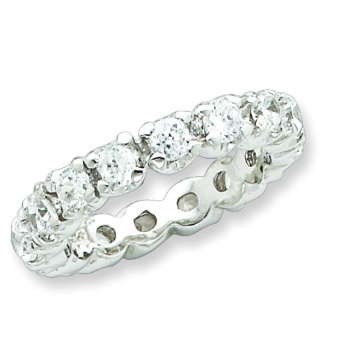 Sterling Silver CZ Eternity Ring. Metal Weight- 4.34g