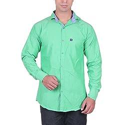 Cotblend Men's Casual Shirt (CB-FLFL-Green-XL, Green, XL)