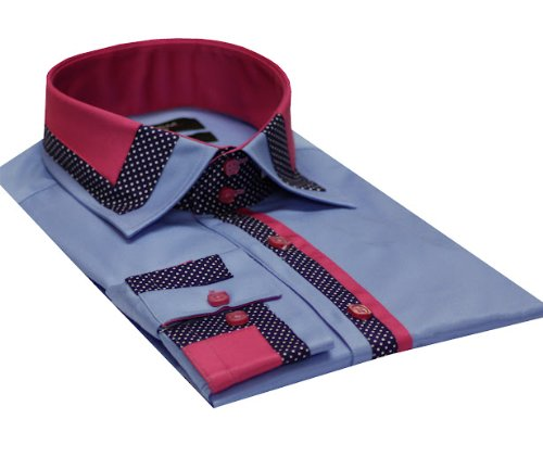 Italian Design Men's Formal Casual Designed Collar Shirt Blue Colour Slim fit
