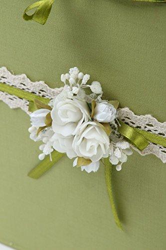 Urne mariage fait main Boîte mariage verte carton tissu Accessoire mariage