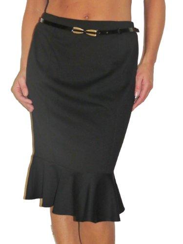 (2384) Fishtail Peplum Hem Pencil Skirt Black (12) Image