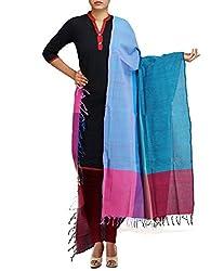 Unnati Silks Women Blue-green Pure Handloom Andhra Khadi Cotton dupatta