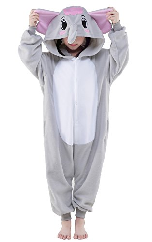 Kids Onesie Jumpsuit Pajama Children's Halloween Costume (105, Gray elephant) (Elephant Kids Costume)