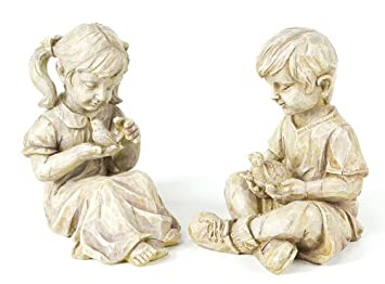 Children Animals Outdoor Figures Two Ivory Finish Kids Are Happily Playing  With Their Best Animal Friends. A Boy Cradles A Small Turtle In His Arms  While ...