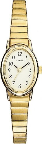 Timex Ladies Oval Face stainless steel gold expansion band watch - T21872PF