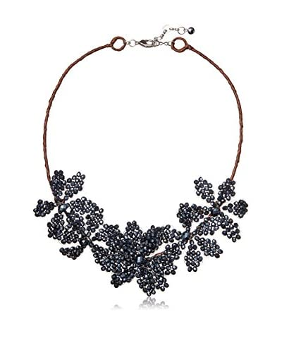Saachi Navy Flower Beaded Necklace
