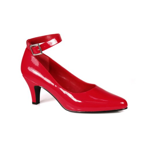 Wedding Shoes: DIVINE 3 Inch Block Heel Ankle Strap Pump Shoes Red Patent Pleaser-Pleaser Wedding Shoes-Pleaser Wedding Shoes: DIVINE 3 Inch Block Heel Ankle Strap Pump Shoes Red Patent Pleaser-Pump Wedding Shoes