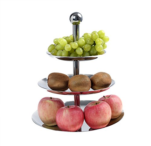 Jumptiger 3 tier stainless steel fruit bowl dining outlet express - Tiered fruit bowl ...