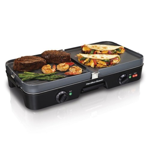 New Hamilton Beach 38546 3-In-1 Reversible Dual Zone Counter Top Griddle/Grill