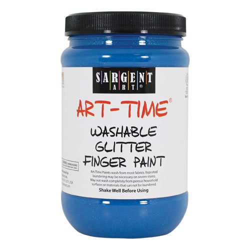 Sargent Art 22-9250 16-Ounce Art Time Washable Glitter Finger Paint, Blue