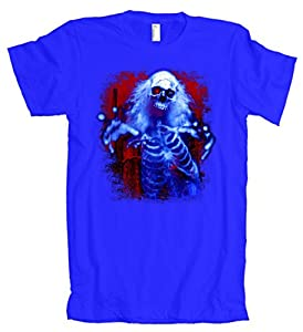 Sinister Skeleton Ghost American Apparel T-Shirt Blue 2XL