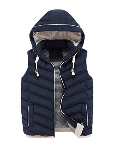CeRui Uomo Moda Inverno Spesso Casual Gilet Con Cappuccio Giacca Imbottita Cappotti Taglia 2XL Blu marino
