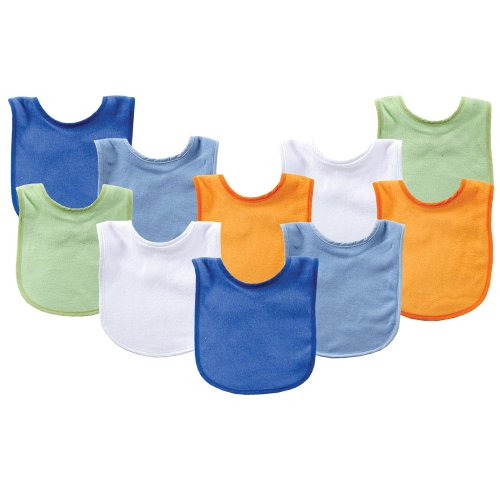 Luvable Friends 10 Pack Baby Bibs Value Pack, Assorted Colors