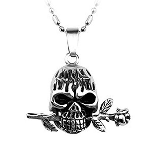 Chaomingzhen Stainless Steel Vintage Skull Rose Flower Pendant Necklace Fashion Titanium Steel Jewellery for Men with Chain19.5