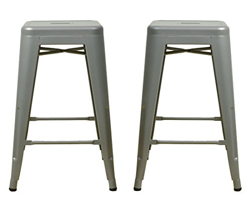 """Gray 24"""" Metal Stool (Set of 2) - Industrial Tolix Style - Ready to Use - No Assembly Required - Weight Capacity of Over 250 Pounds - Extra Durable - Indoor and Outdoor Use"""