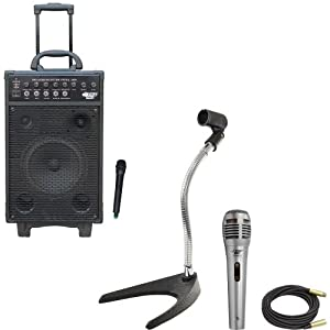 Pyle Speaker, Mic, Cable and Stand Package - PWMA1050 800 Watt VHF Wireless Battery Powered Pa System W/Echo/Ipod/MP3 Input Jack - PDMIK1 Professional Moving Coil Dynamic Handheld Microphone - PMKS8 U-Base Gooseneck Desktop Microphone Stand - PPMCL50 50ft. Symmetric Microphone Cable XLR Female to XLR Male
