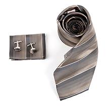 H8057 Brown Stripes For Mens Silk Ties Cufflinks Hanky Set 3PT By Y&G