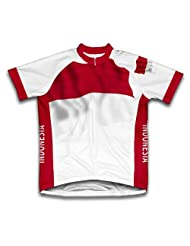 Indonesia Flag Short Sleeve Cycling Jersey for Women