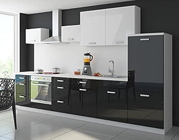 Kuche Color 340cm Kuchenzeile Kuchenblock Einbaukuche in Hochglanz Schwarz/Weiss