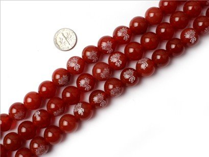 14mm Round Gemstone red agate buddha beads strand 15