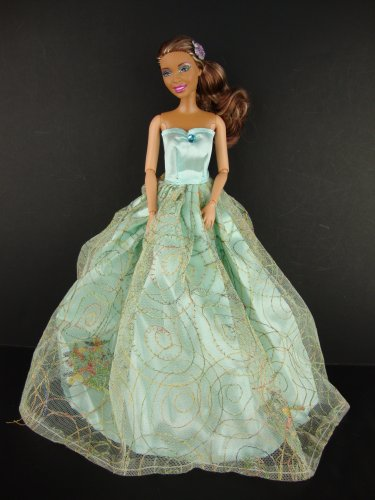 Light Green Gown with Gold and Flower Trim on the Lace Made to Fit the Barbie Doll