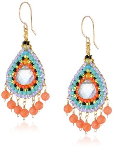 Miguel Ases Pink Coral and Multi-Color Dangle Drop Earrings