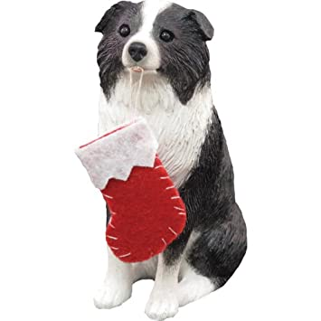 #!Cheap Sandicast Border Collie with Stocking Christmas Ornament