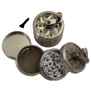 "2.5"" - Silver 4 Piece Sharpstone® Herb Grinder With Reeling Handle"
