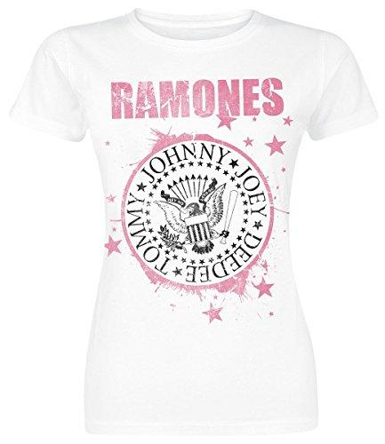 Ramones Pink Star Maglia donna bianco L