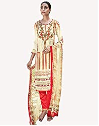 Cream Printed With Embroidery Cotton Silk Salwar Suit