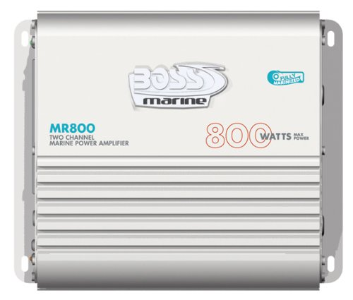 BOSS AUDIO MR800 Marine Weather Proof 800-Watt Full Range, Class A/B 2-8 Ohm Stable 2 Channel Amplifier with Remote Subwoofer Level Control
