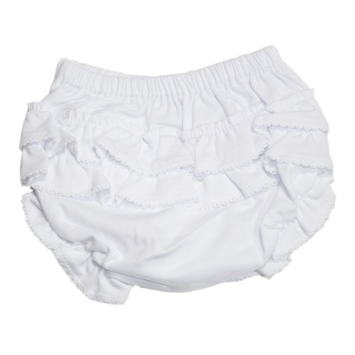 Kissy Kissy - Basic Diaper Cover with Ruffle - White-3-6mos