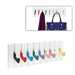 Decorative Multicolor Piano Design Wood Wall Mounted Coat Hooks / 9 Hook Storage Utility Rack - MyGift®